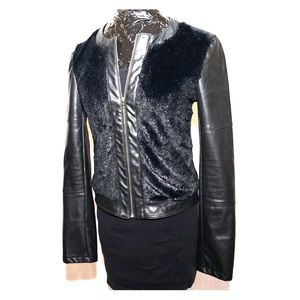Black faux leather and fur jacket